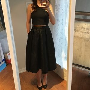Nikibiki Black Floral Shimmer Skirt Small